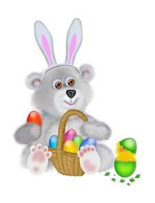Free Bear In The Suit Of The Easter Rabbit Stock Photography - 8443972
