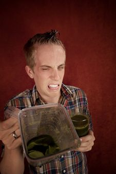 Free Young Man With Unappetizing Health Shake Stock Photos - 8443973