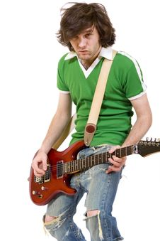 Passionate Guitarist Playing His Electric Guitar Stock Images