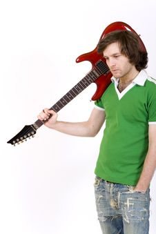 Free Guitarist With His Guitar On Shoulder Royalty Free Stock Photo - 8444025