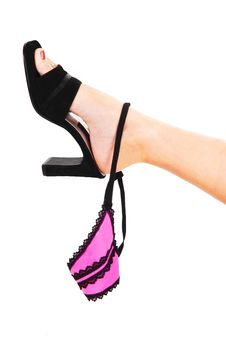 Womans Foot With Thong. Stock Photography