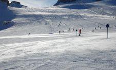 Ski Slope On Stubai Glacier In The Alps Stock Images