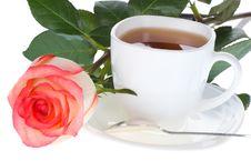 Close-up Rose And Cup Of Tea Stock Photos