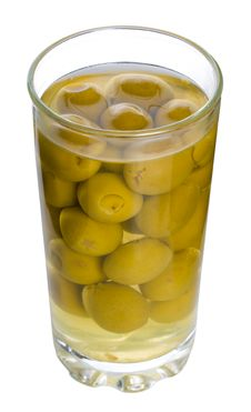 Free Glass With Green Olives Royalty Free Stock Photo - 8444325