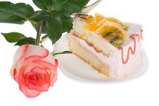 Free Piece Of Cake And Rose Royalty Free Stock Photo - 8444335