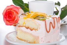 Free Piece Of Cake With Fruits Rose And Cup Stock Photography - 8444342