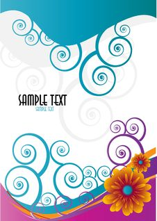 Abstract Floral Template With Place For Your Text Royalty Free Stock Image