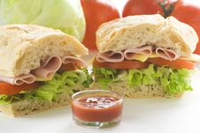 Delicious Sandwich Of Ham Cheese Lettuce Tomato Stock Photo