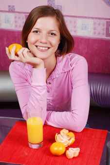 Woman With Glass Of Juice Stock Image