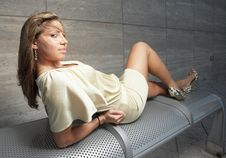 Beautiful Woman On A Bench Royalty Free Stock Images