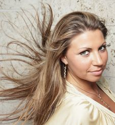 Woman With Blowing Hair Stock Photography