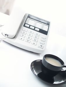 Free Office Telephone And Cup Royalty Free Stock Image - 8447906