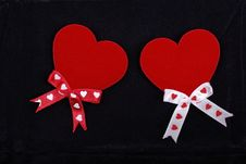 Free Two Hearts With Ribbons Royalty Free Stock Photography - 8448187