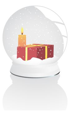 Vector Illustration Of A Snow - Globe Over White Royalty Free Stock Photos
