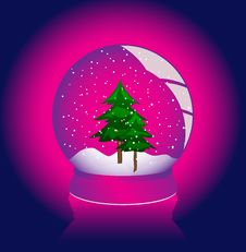 Vector Illustration Of A Snow - Globe Over White Royalty Free Stock Images