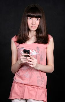 Free Funny Girl With A Phone Stock Photography - 8449092