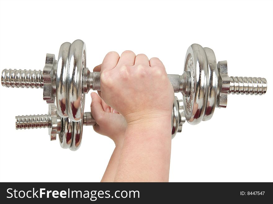 Woman hands lifting barbell
