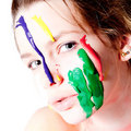 Free Teenage Girl With Four Colors Of Paint On Her Face Stock Image - 8458021