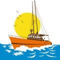 Free Fishing Boat On Stormy Seas Royalty Free Stock Photo - 8458885