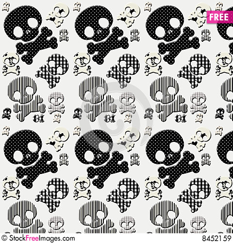 Free Black And White Skull And Crossbones Royalty Free Stock Images - 8452159