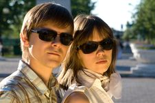 Free Boy And Girl In Sunglasses Showing How Cool They A Stock Photography - 8450382