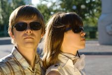 Free Boy And Girl In Sunglasses Showing How Cool They A Stock Images - 8450444