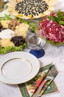 Free Different Salads And Wine Glass. Stock Photo - 8451500