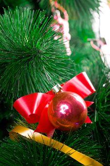 Christmas Balls On Pine Tree Stock Image