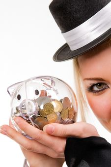 Free Woman Holding Transparent Piggybank With Coins Stock Image - 8451761