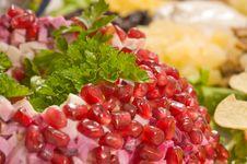 Free Pomegranate Grains Decorating Salad. Stock Photography - 8452112