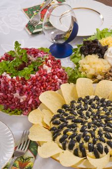 Free Different Salads And Wine Glass. Royalty Free Stock Image - 8452306