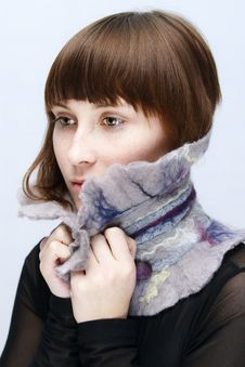 Free Calm Girl In Woollen Collar Royalty Free Stock Images - 8453659
