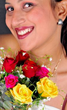 Free Girl With Flowers Stock Image - 8454171