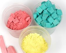 Cyan, Magenta And Yellow Crushed Chalk Royalty Free Stock Photography