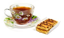 Free Cap Of Tea On Saucer With Cake Royalty Free Stock Photography - 8454577