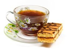 Free Cap Of Tea On Saucer With Cake Stock Photos - 8454773