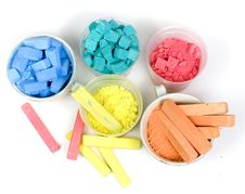 Several Colors Crushed Chalk In Tubes And Caps Stock Images