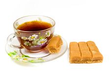 Free Cap Of Tea On Saucer With Toffee Stock Photo - 8455250