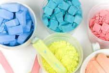 Several Colors Crushed Chalk In Tubes And Caps Royalty Free Stock Photo
