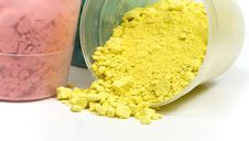 Magenta And Yellow Crushed Chalk Stock Photo