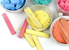 Several Colors Crushed Chalk In Tubes And Caps Royalty Free Stock Images