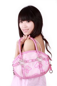 Free Asian Girl With Pink Handbag Stock Photos - 8456173