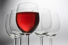 Free Five Wine Glasses Royalty Free Stock Photos - 8456218