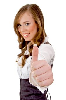 Free Side View Of Smiling Woman With Thumbs Up Royalty Free Stock Photography - 8456347