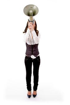Front View Of Female Carrying Loudspeaker Royalty Free Stock Photography