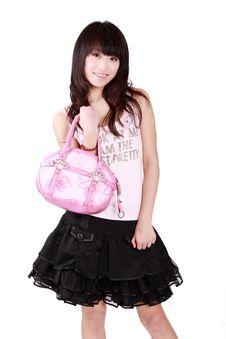 Asian Girl With Pink Handbag Stock Photo