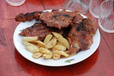 Free Grilled Steak With Potato Royalty Free Stock Image - 8456806