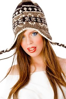 Free Front View Of Woman Wearing Woolen Cap Stock Photography - 8457232