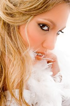 Close View Of Model Wearing Fur Stole Stock Image