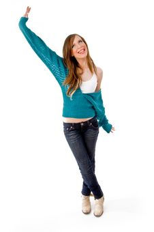 Free Front View Of Happy Dancing Woman Royalty Free Stock Images - 8457339